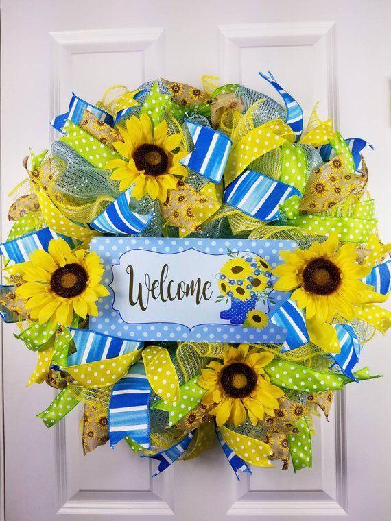 Photo of Sunflower wreath for front door, Spring sunflower wreath, Welcome mesh wreath, Summer wreath front door, Everyday wreath, Year round wreath
