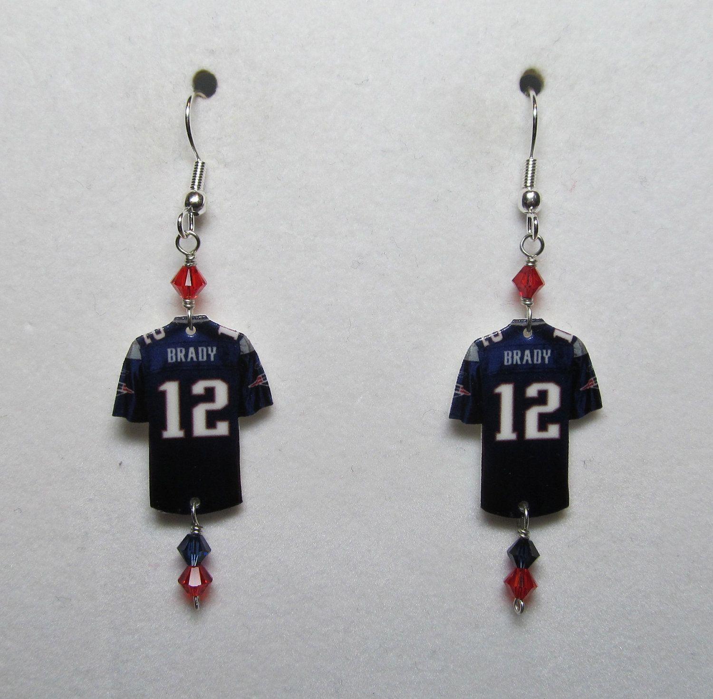 tom brady jersey earrings