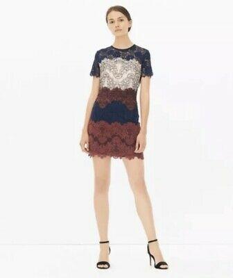 Sandro Paris Edina Dress 1 Navy Blue Red Lace Sheath Mini Short Sleeve Women's  | eBay #navyblueshortdress