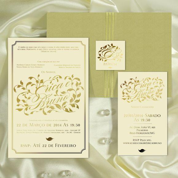Convite Para Casamento Em Hot Stamping A Fita Metálica Dourada De