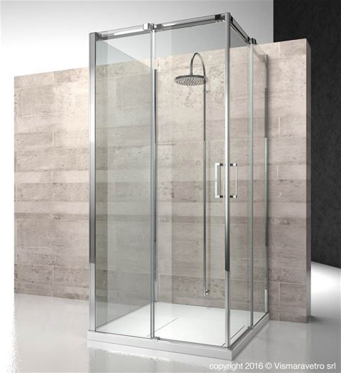 This 8mm Thick Tempered Glass Square Surround Shower Features A