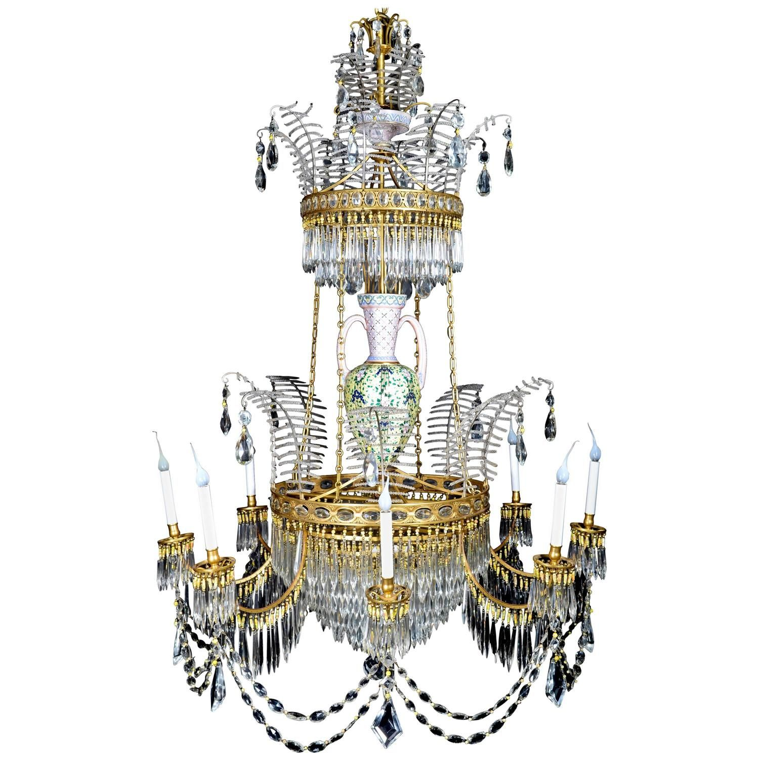 Palatial large antique russian neoclassical gilt bronze and palatial large antique russian neoclassical gilt bronze and crystal chandelier arubaitofo Image collections