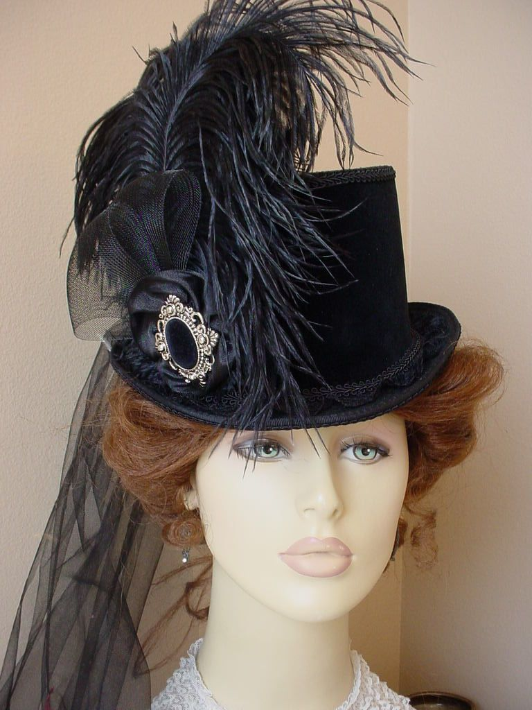 Victorian Ladies Tea Top Hat Black Velvet Gothic Steampunk Equestrian  Riding  34c43f4b84f