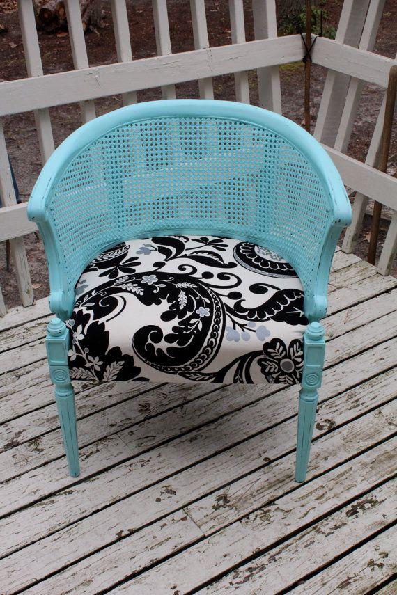 Vintage French Barrel Chair Cane Back Shabby Chic By Wdavisdesign 195 00