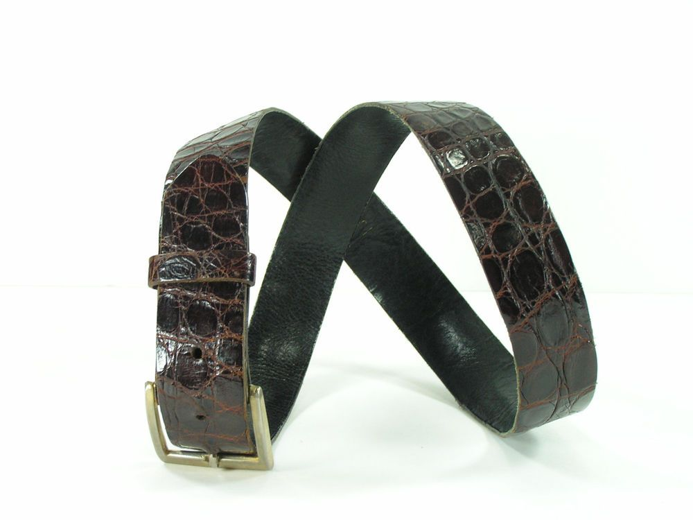 Torino genuine alligator skin belt mens 30 brown supple leather  #Torino #FashionBelt