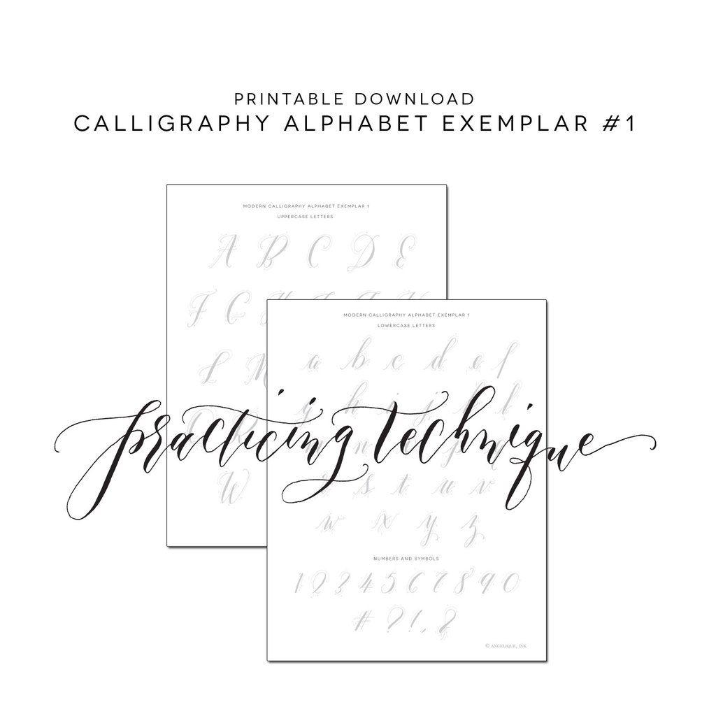Calligraphy Practice Alphabet 1 Exemplar Printable