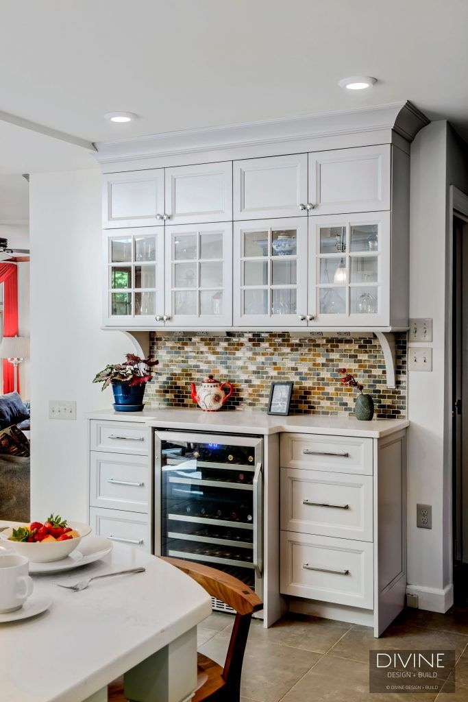 A Builtin Bar Area In A Kitchen Addition In Massachusetts #wine Fair Kitchen Design Massachusetts 2018