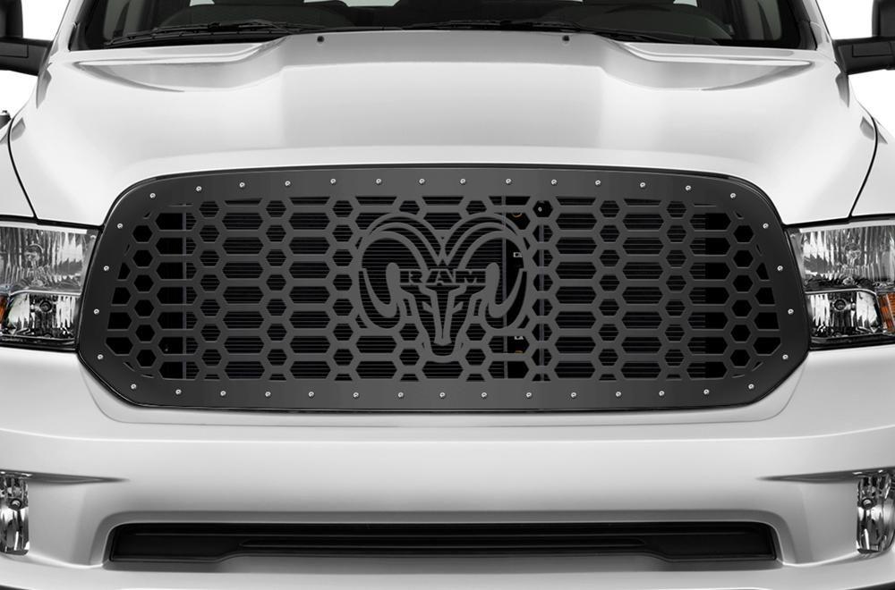 1 Piece Steel Grille For Dodge Ram 1500 2013 2018 Ram Head