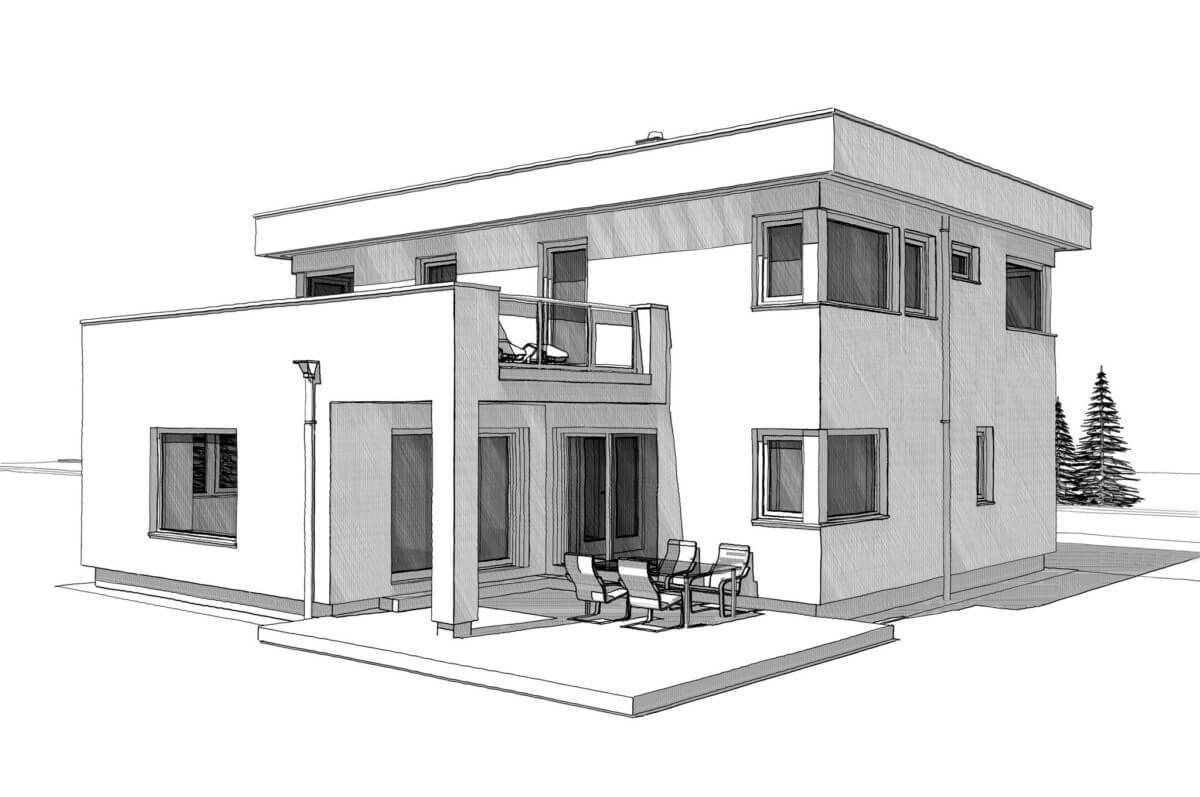 House Design With Flat Roof In Bauhaus Style Home Plans In 2020 Two Story House Design Buildings Sketch Architecture House Design Drawing