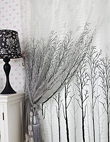 Elleweideco Modern Tree Branch White Sheer Green Pink Grey
