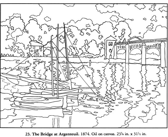 Free Coloring Page From Dover The Bridge From Argenteuil