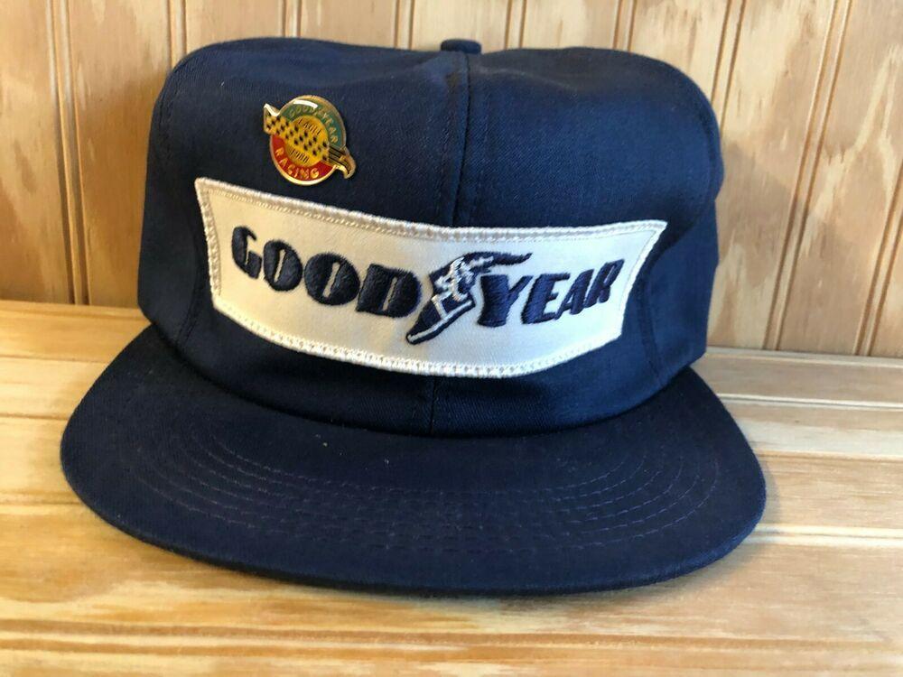 Good Year Tires Promo Trucker Hat Vintage 80's Mesh Back Snapback Cap Race Logo