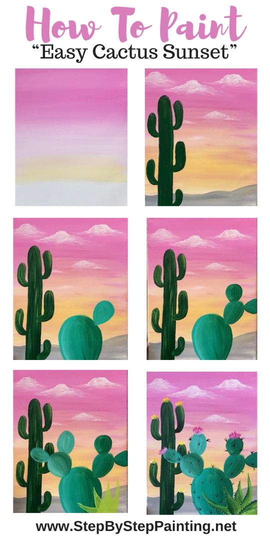 Learn To Paint An Easy Cactus Sunset