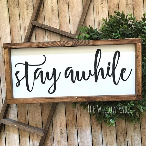 Guest Room Sign Decor Prepossessing Stay Awhile Entry Decor Guest Bedroom Sign Farmhouse  Guest Room Decorating Design