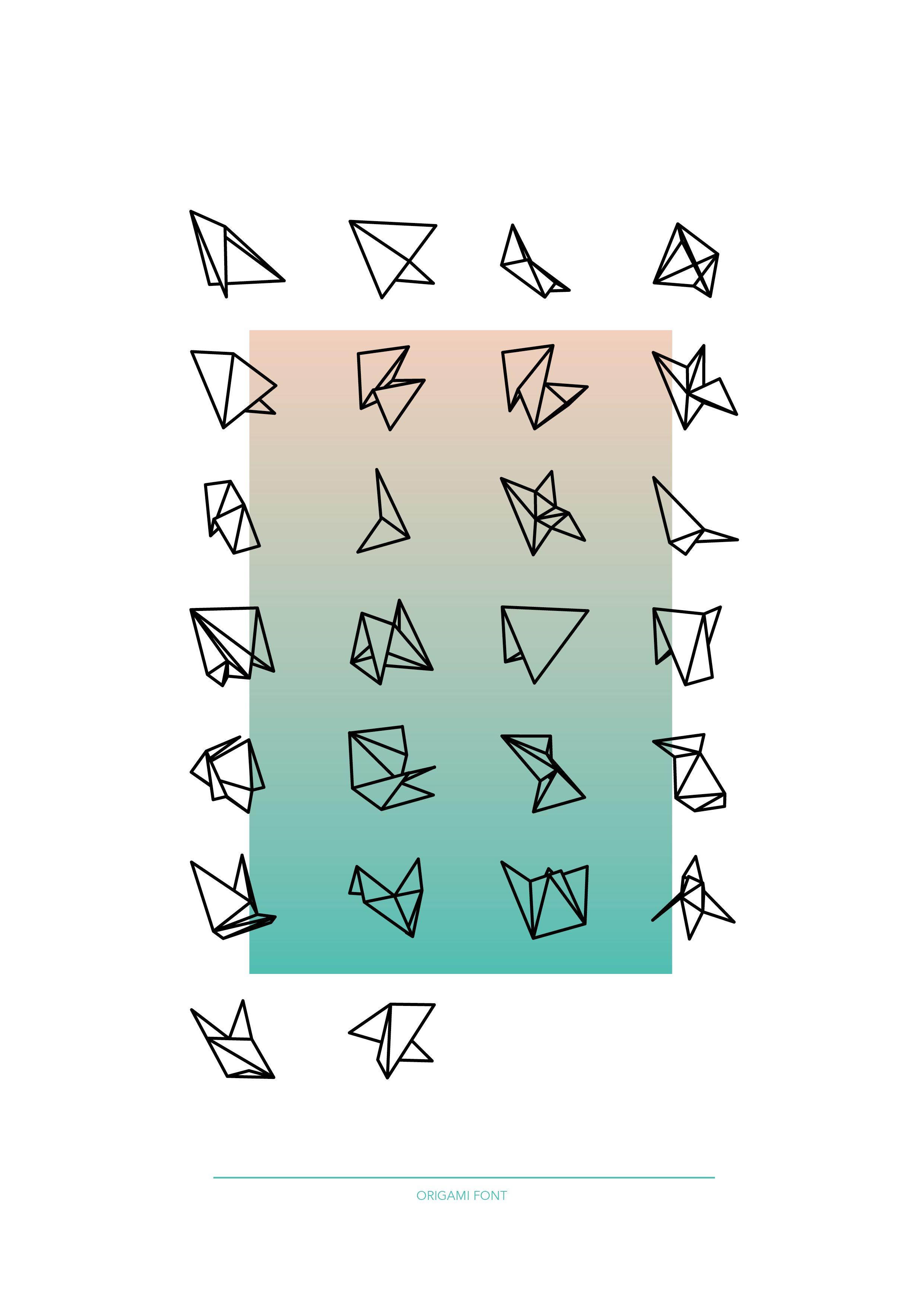 origami font lettering pinterest