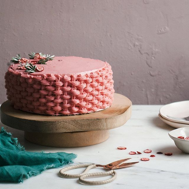 chestnut cake with cranberry frosting.