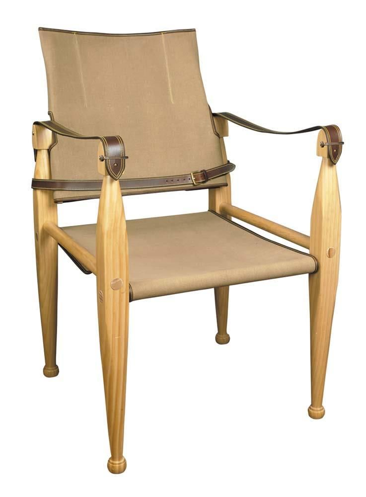 Leather Canvas Chair By Authentic, Leather Campaign Dining Chair