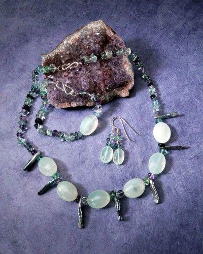 Seafoam Chalcedony, Fluorite & Stick Pearls  $305