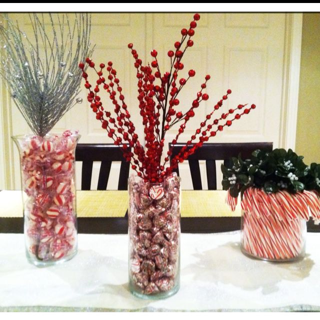Decorated vases for Christmas! Sparkly items are from ...