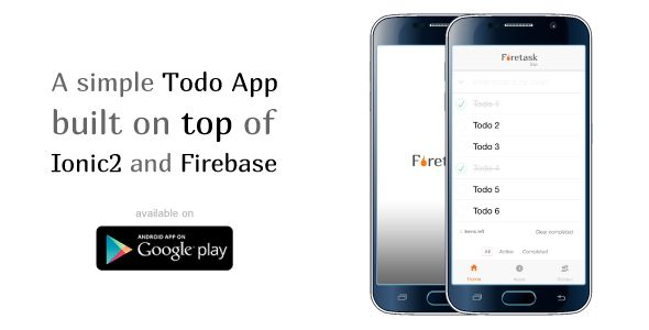 awesome Firetask Lite - Ionic two Firebase Todo Application - application template