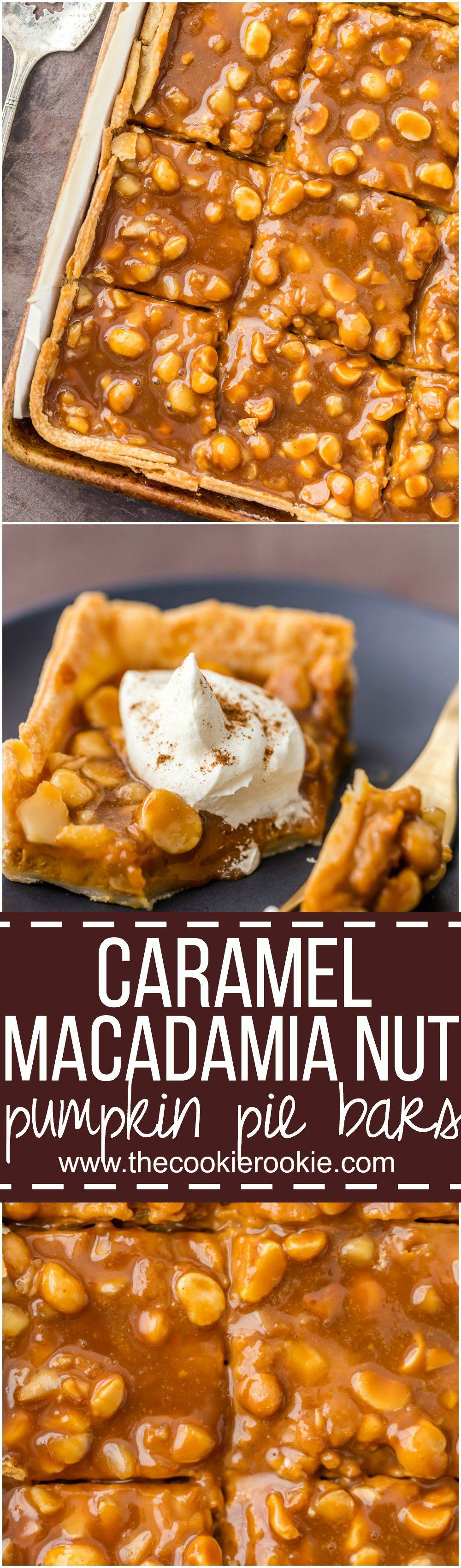 Caramel Macadamia Nut Pumpkin Bars!! Absolutely love the sound of these! A twist on a classic that would definitely be so delicious!!