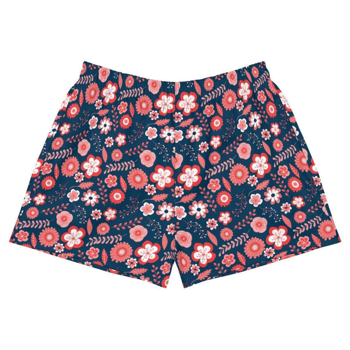 Womens athletic floral shorts as running shorts Dark blue   Etsy