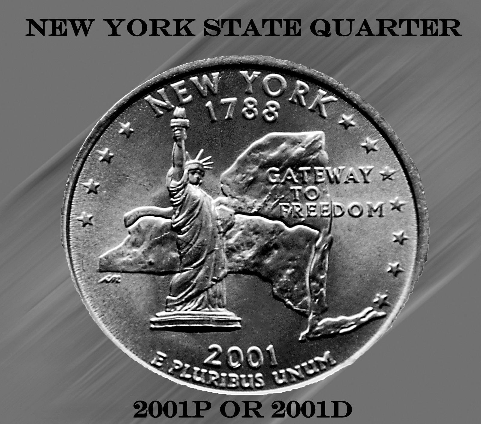 2001 D  New York   State Quarter  **BRILLIANT UNCIRCULATED**  ~