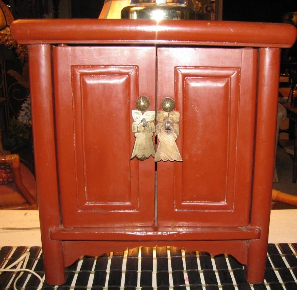 SMALL ANTIQUE ASIAN RED TWO DOOR WOODEN CABINET BRASS HARDWARE