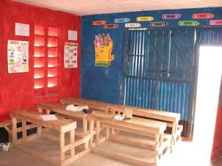Preschool classroom built in Athi River; many posters supplied by IHM in Kentucky.