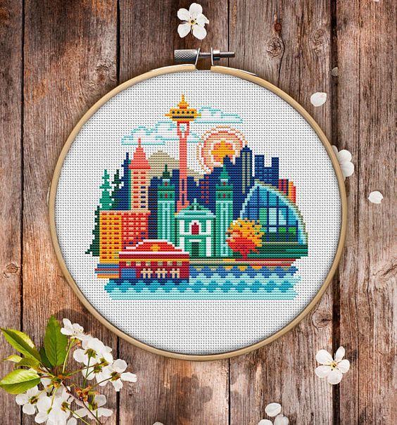 Seattle Cross Stitch Pattern For Instant Download 076 Easy Cross