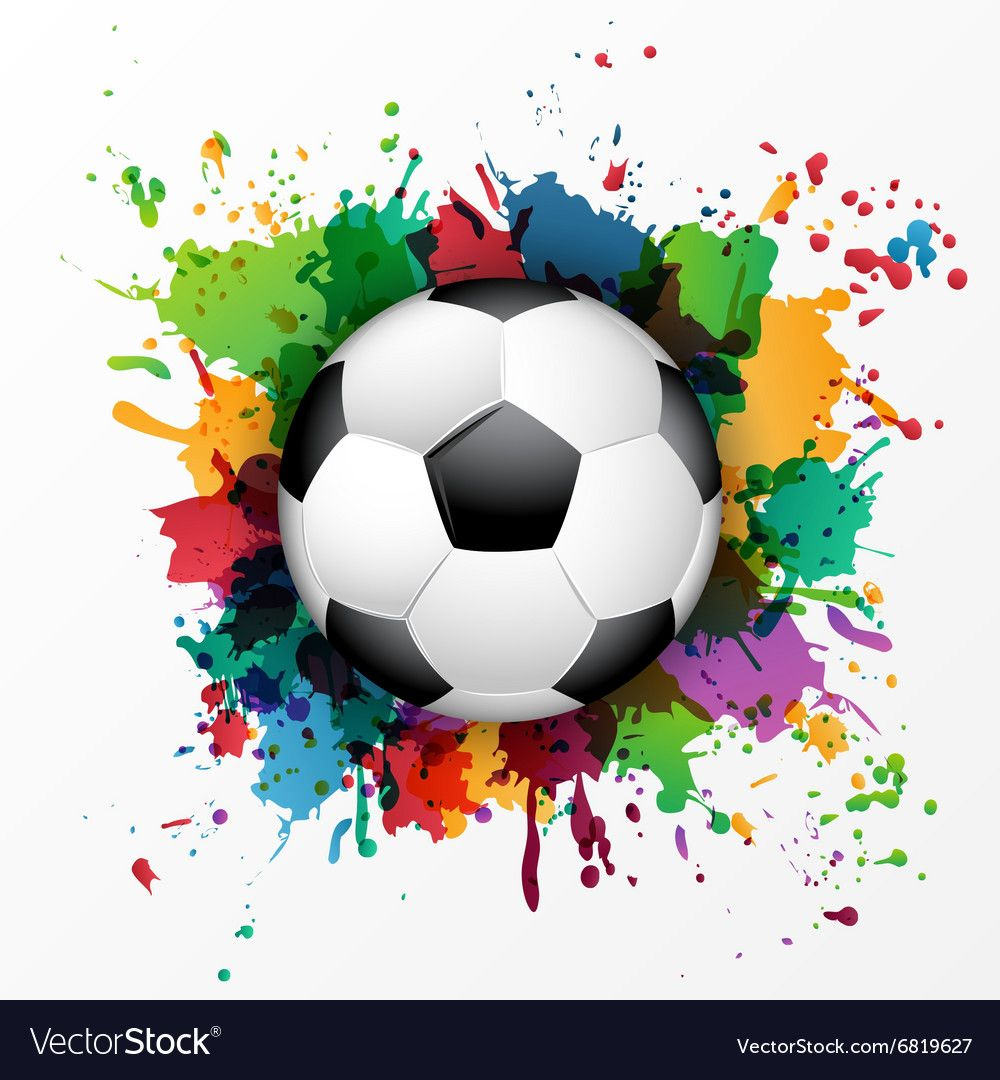 Soccer Ball With Colorful Spray Paint Vector Image On Vectorstock Soccer Ball Soccer Soccer Art