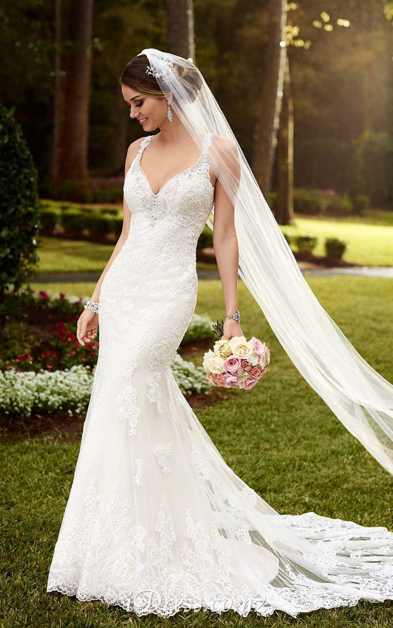 0f6d7a6ca375 V-neck Open Back Sleeveless Rustic Mermaid Lace Wedding Dress in ...