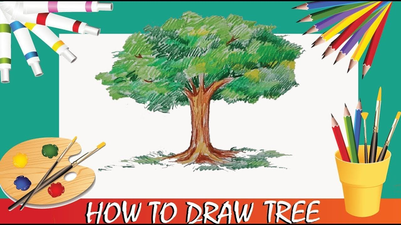 How to Draw Tree With Pencil Color (Very Easy) | Darwing | Pinterest ...