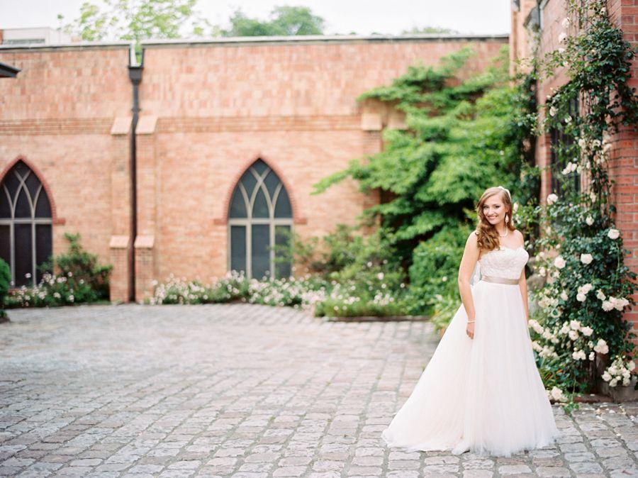 Courtyard Bridal Portraits -Southern Wedding Photographer - Film - Portra 400 - Indie Film Lab - Drew Cason Photography
