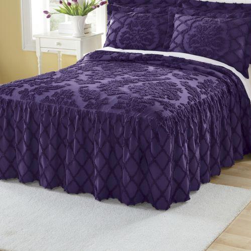 Damask Ruffle Chenille Bedspread From Montgomery Ward Tn63522