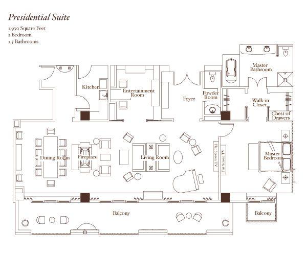 Montage Beverly Hills Presidential Suite Floorplan Arch