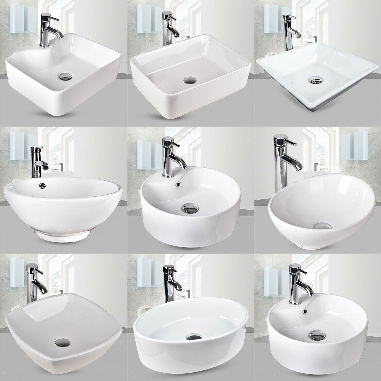 Bathroom Porcelain Ceramic Vessel Sink Vanity Basin Bowl Pop Up