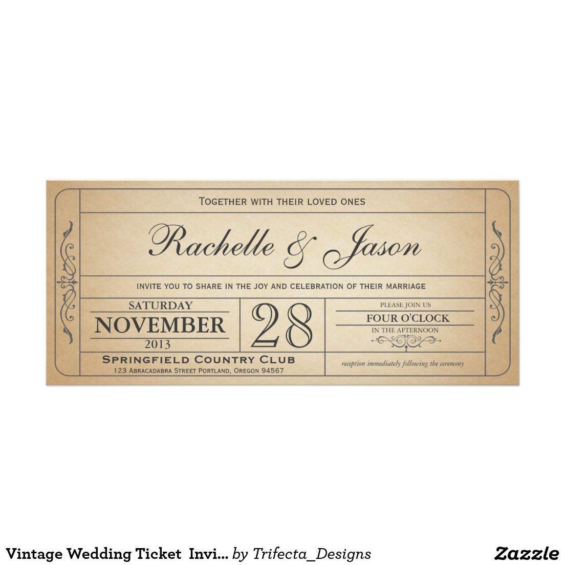Invitation Vintage De Billet De Mariage Zazzle Fr With Images Photo Wedding Invitations Vintage Wedding Monogram Wedding Invitations