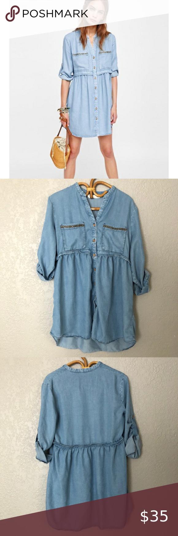 Zara Denim Shirt Dress | Long sleeve print dress, Denim shirt ...