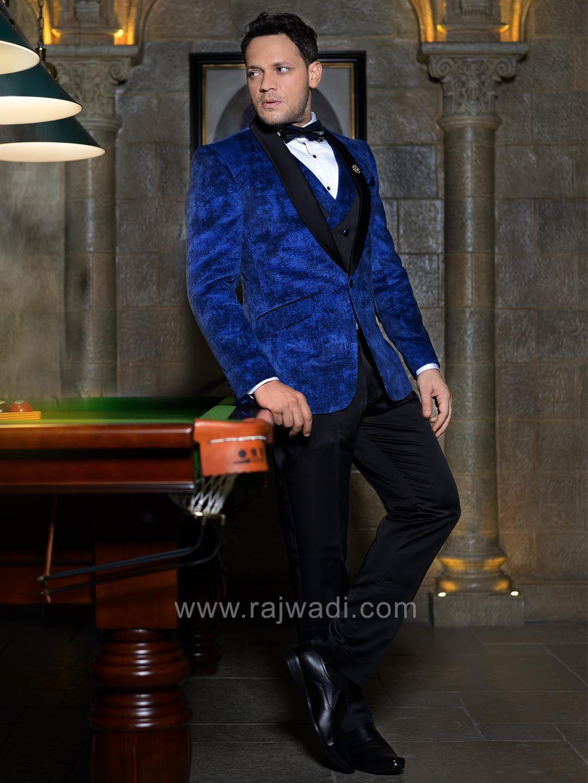 Velvet fabric suit in blue color rajwadi menswear mensfashion