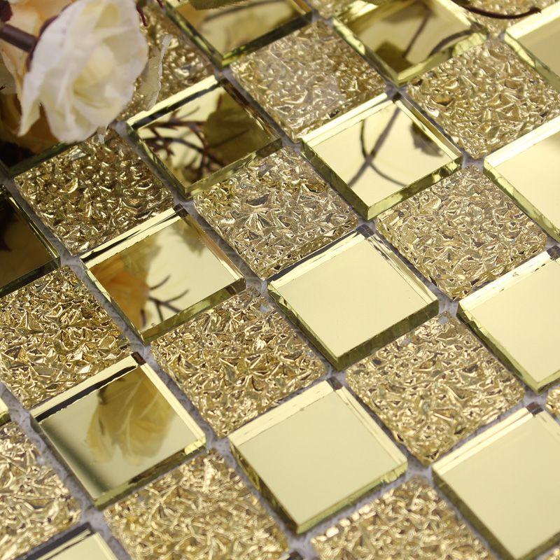 Wholesale Mirror Tile Backsplash Gold Vitreous Glass Mosaic Wall ...