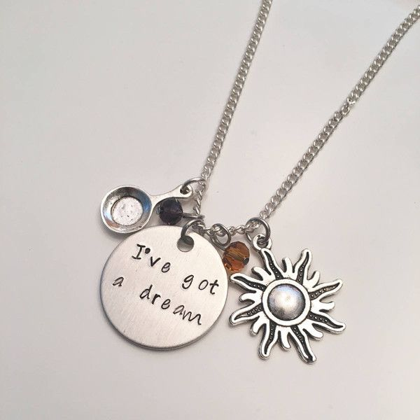 I've Got a Dream Tangled Rapunzel Flynn Rider Disney Princess Inspired... ($19) ❤ liked on Polyvore featuring jewelry, necklaces, charm jewelry, hand stamped jewelry, charm necklace, hand stamped charms and hand stamped necklace