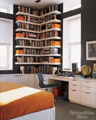 Modern Floating Bookshelf With Contrasting Orange