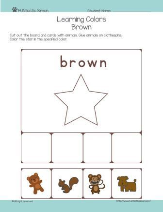 Color activities for preschool. Let's learn colors and develop fine motor skills all in one worksheet. This worksheet covers brown color.
