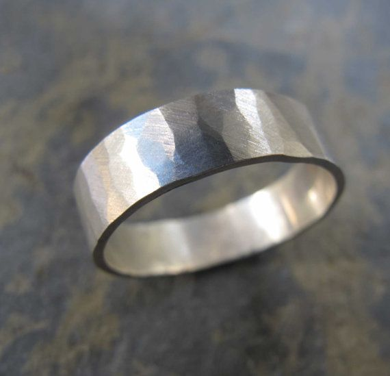 Men S Hammered Bark Texture Wedding Band Ring Heatherstephens Hammered Wedding Bands Rings For Men Mens Wedding Rings