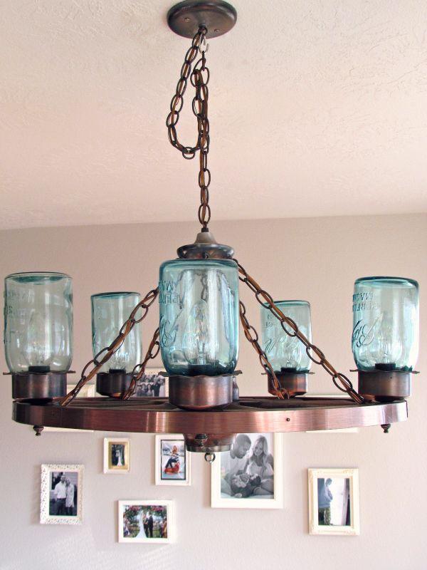 Wagon Wheel Light Fixture With Blue Mason Jars Craft