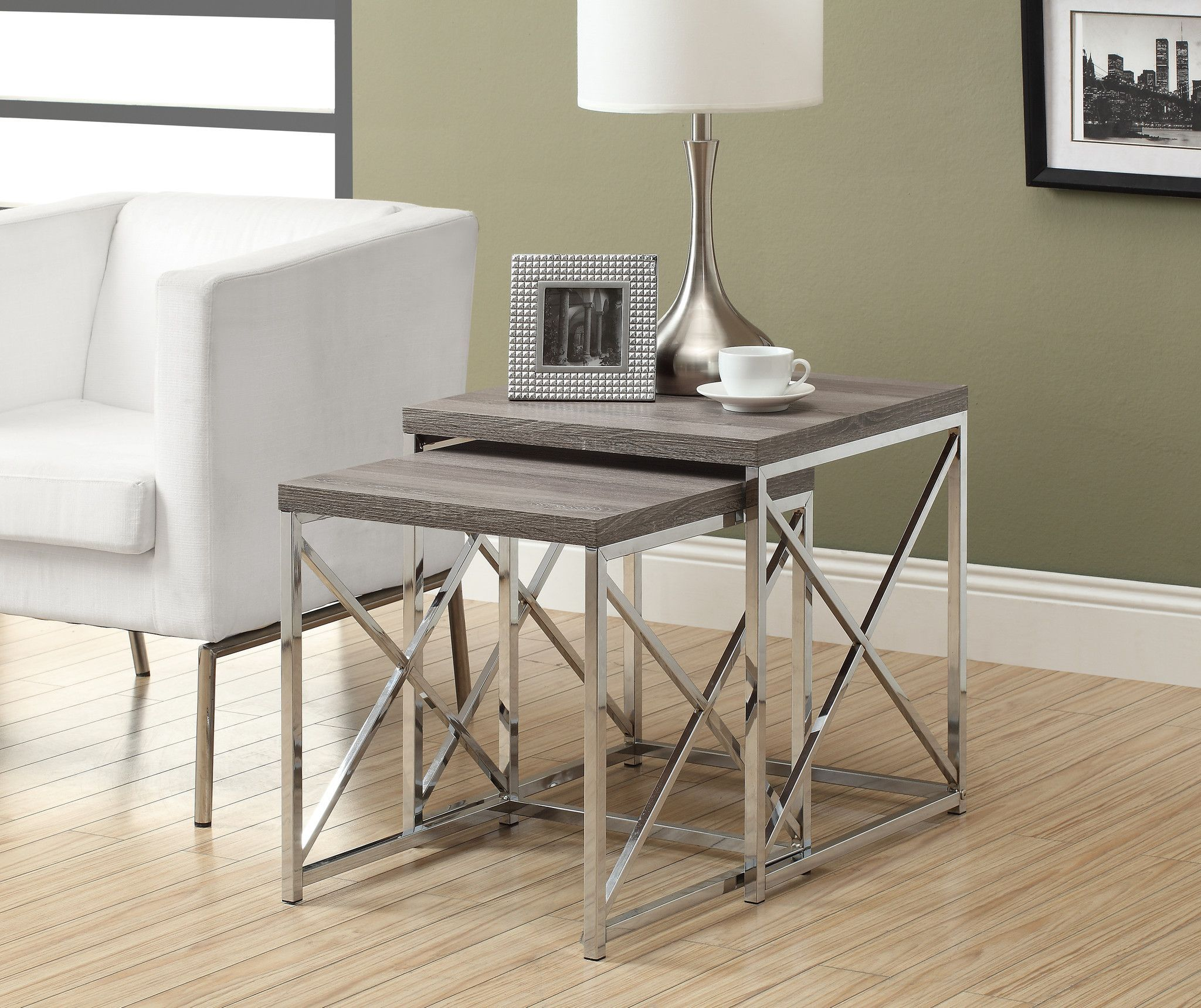 Buy nesting table 2pcs set dark taupe with chrome metal at buy nesting table 2pcs set dark taupe with chrome metal at harvey haley for only 22159 watchthetrailerfo