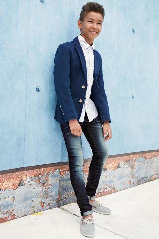 Indigo Inspired Blazer With Mini Dot Easter Super Skinny