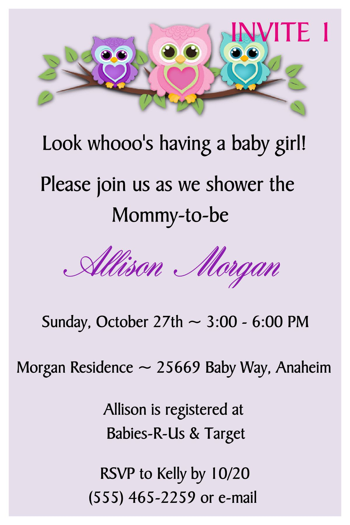 OWL BABY SHOWER INVITATION- TO FOLLOW ME ON FB PLEASE CLICK ON THE PHOTO TWICE