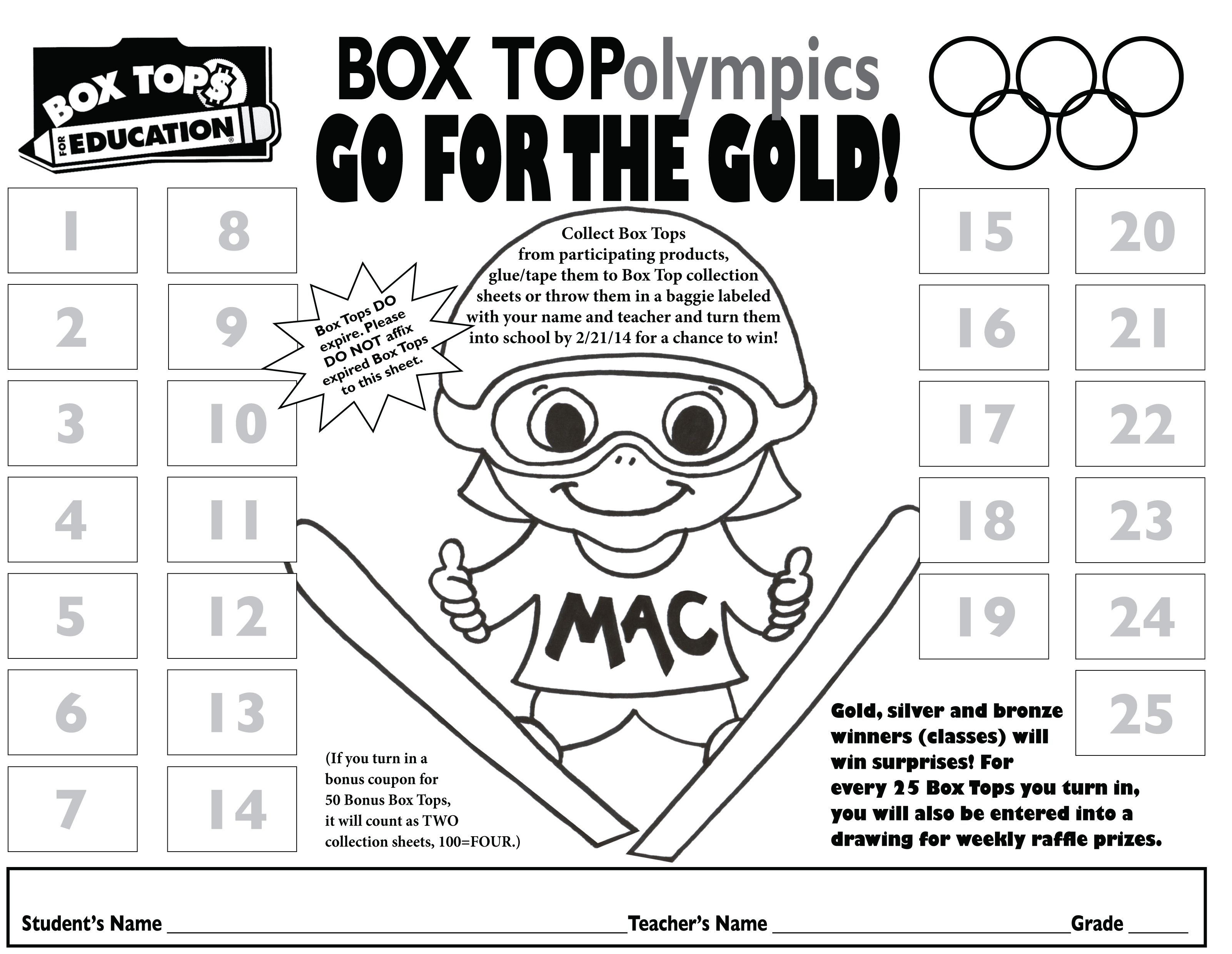 Winter Olympics Collection Sheet
